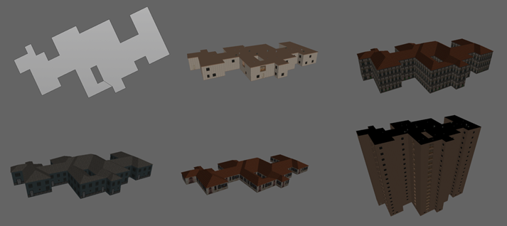 A variety of building models generated from a single footprint.