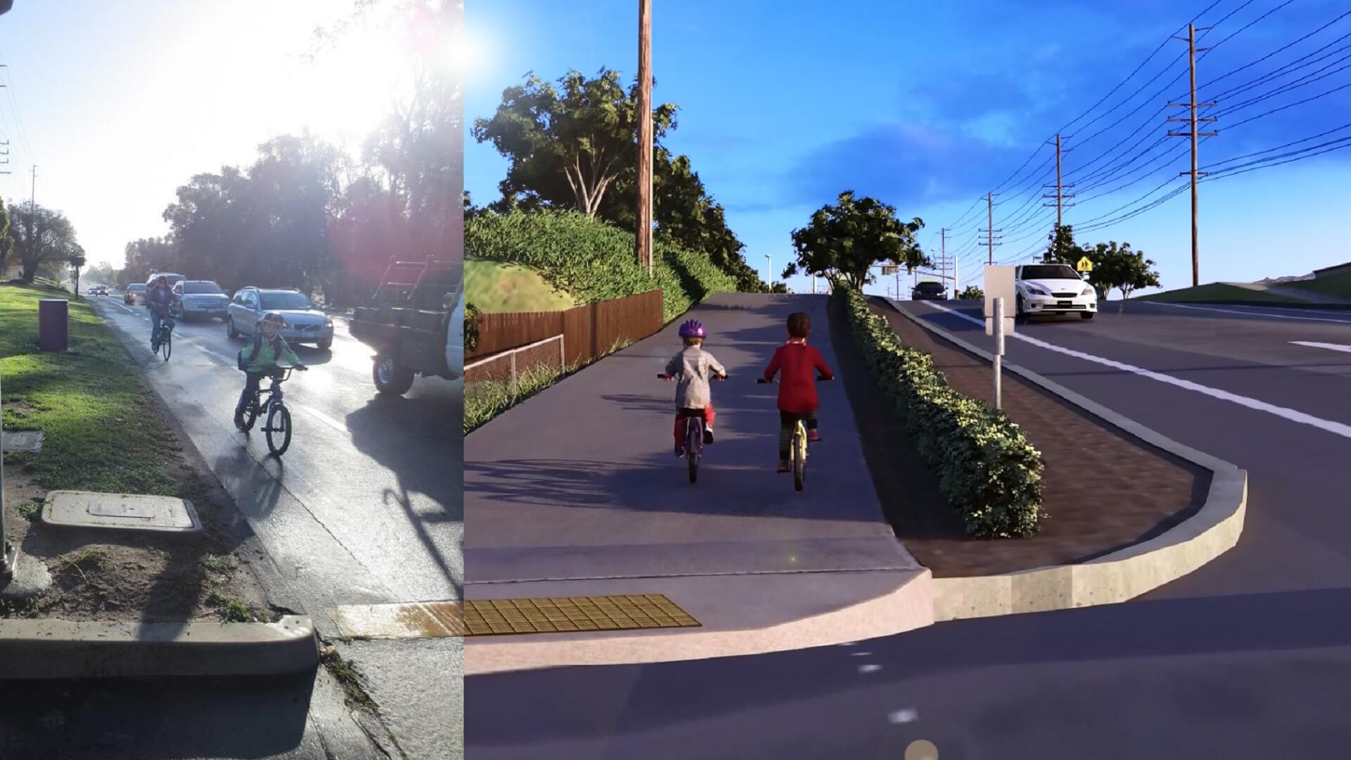 The image on the left shows the current bike path, while the right shows the planned bike path.